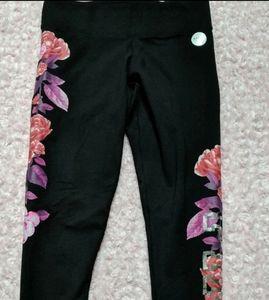 Vs Pink bling floral cotton yoga leggings m